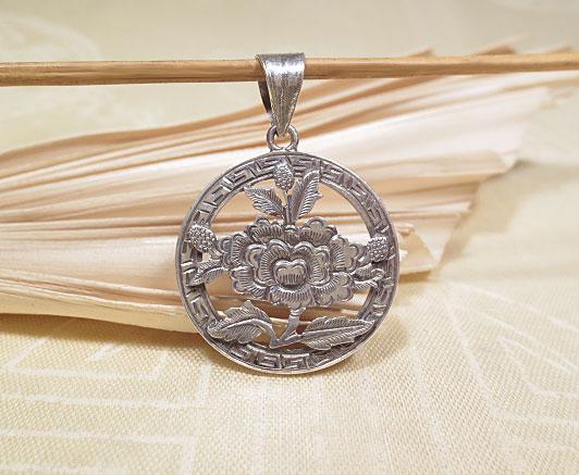 Tibet Glückssymbol Anhänger Muschelhorn 925er Sterling Silber Nepal