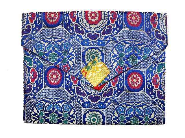 Nepal Stoff Tasche rot Tibetische Buchhülle Endloser Knoten