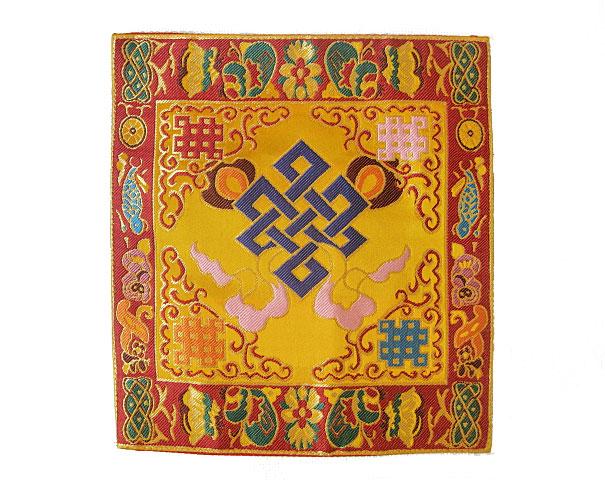 Tibetisches Symbol rot Altar Decke aus BROKAT Endloser Knoten NEPAL