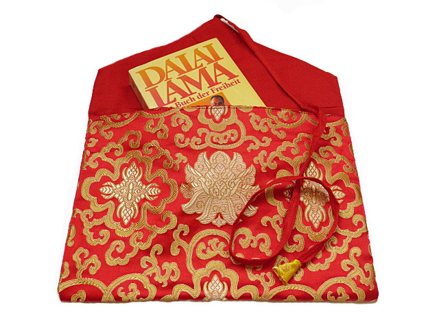 Tibetische Buchhülle Stoff Tasche Endloser Knoten Nepal rot